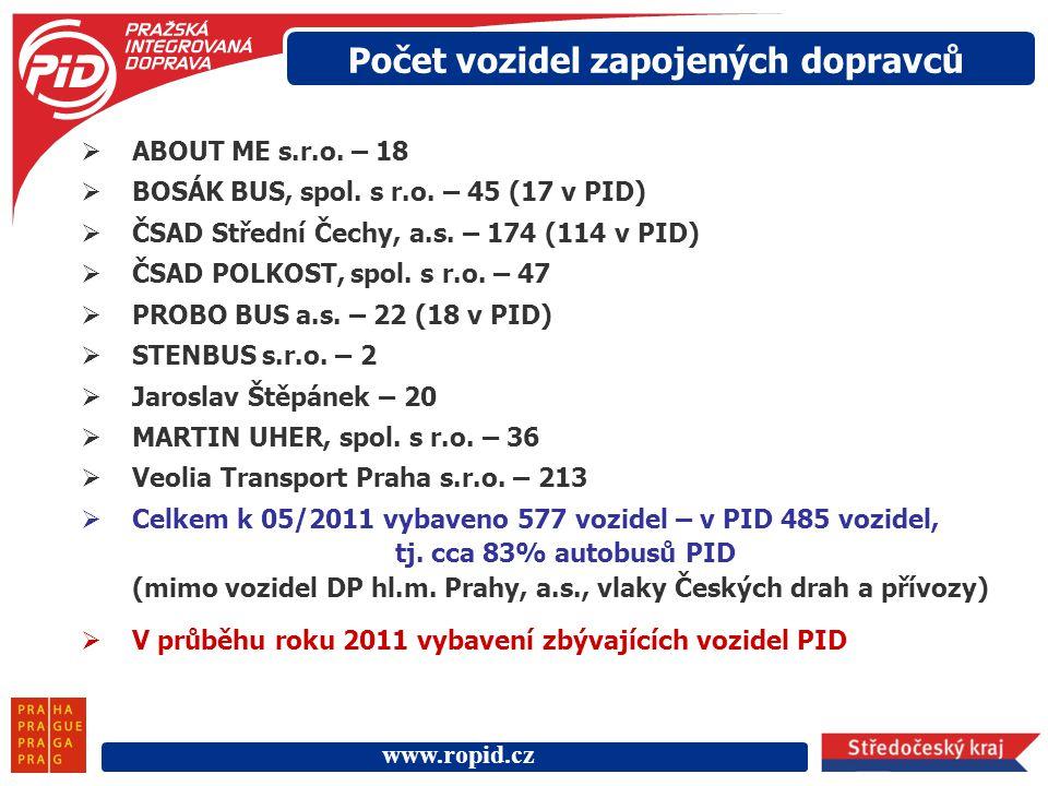 www.ropid.cz Počet vozidel zapojených dopravců  ABOUT ME s.r.o. – 18  BOSÁK BUS, spol. s r.o. – 45 (17 v PID)  ČSAD Střední Čechy, a.s. – 174 (114