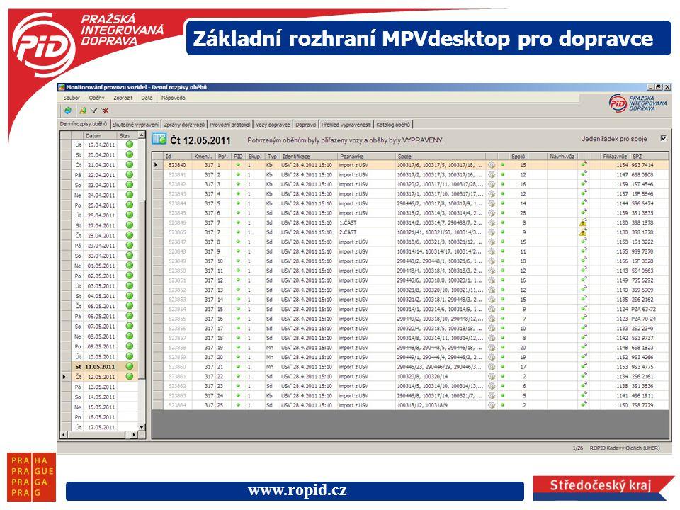 www.ropid.cz Základní rozhraní MPVdesktop pro dopravce