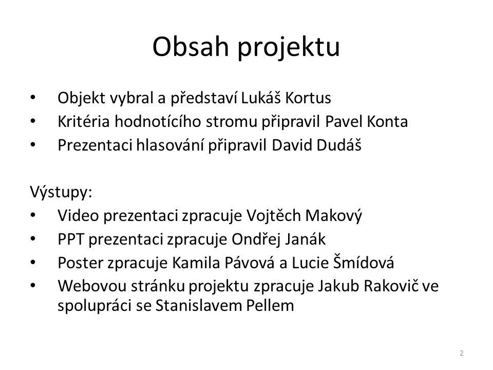 Obsah projektu Objekt vybral a představí Lukáš Kortus Kritéria hodnotícího stromu připravil Pavel Konta Prezentaci hlasování připravil David Dudáš Výs
