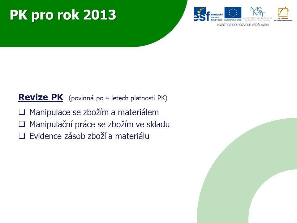 PK pro rok 2013 Revize PK (povinná po 4 letech platnosti PK)  Manipulace se zbožím a materiálem  Manipulační práce se zbožím ve skladu  Evidence zásob zboží a materiálu