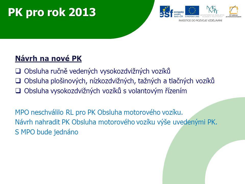 PK pro rok 2013 Návrh na nové PK  Obsluha ručně vedených vysokozdvižných vozíků  Obsluha plošinových, nízkozdvižných, tažných a tlačných vozíků  Obsluha vysokozdvižných vozíků s volantovým řízením MPO neschválilo RL pro PK Obsluha motorového vozíku.