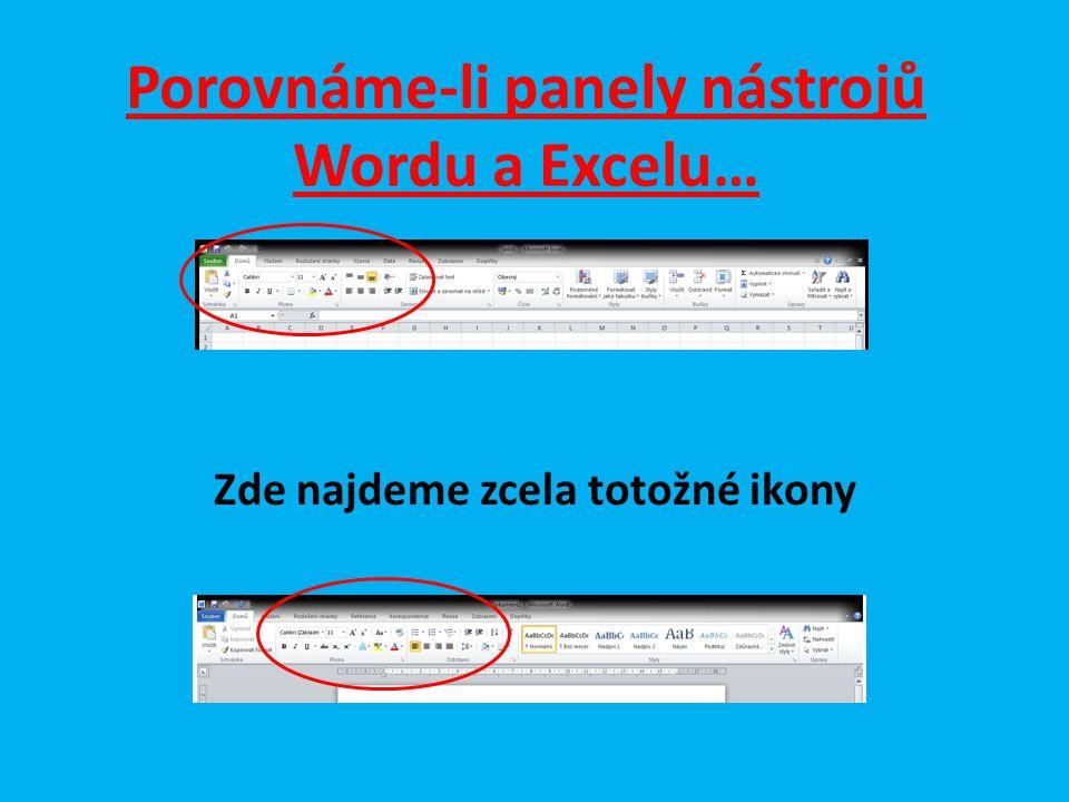 Porovnáme-li panely nástrojů Wordu a Excelu… Zde najdeme zcela totožné ikony