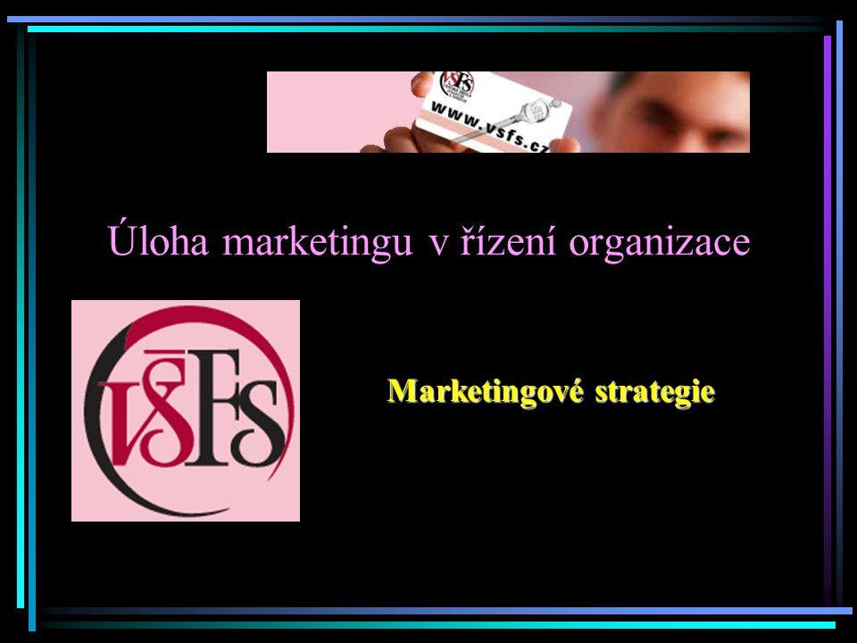 Úloha marketingu v řízení organizace Marketingové strategie