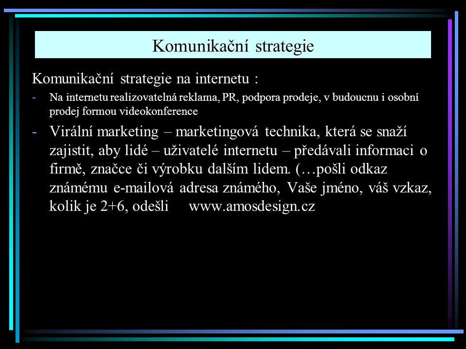Komunikační strategie Komunikační strategie na internetu : -Na internetu realizovatelná reklama, PR, podpora prodeje, v budoucnu i osobní prodej formo
