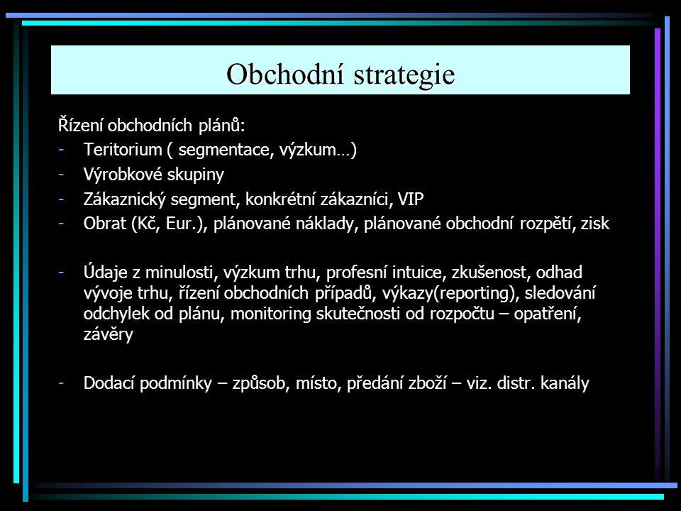 Obchodní strategie Řízení obchodních plánů: -Teritorium ( segmentace, výzkum…) -Výrobkové skupiny -Zákaznický segment, konkrétní zákazníci, VIP -Obrat