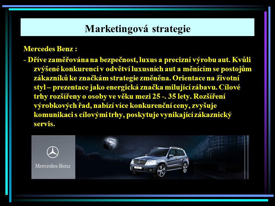 Marketingová strategie Mercedes Benz : - Dříve zaměřována na bezpečnost, luxus a precizní výrobu aut. Kvůli zvýšené konkurenci v odvětví luxusních aut