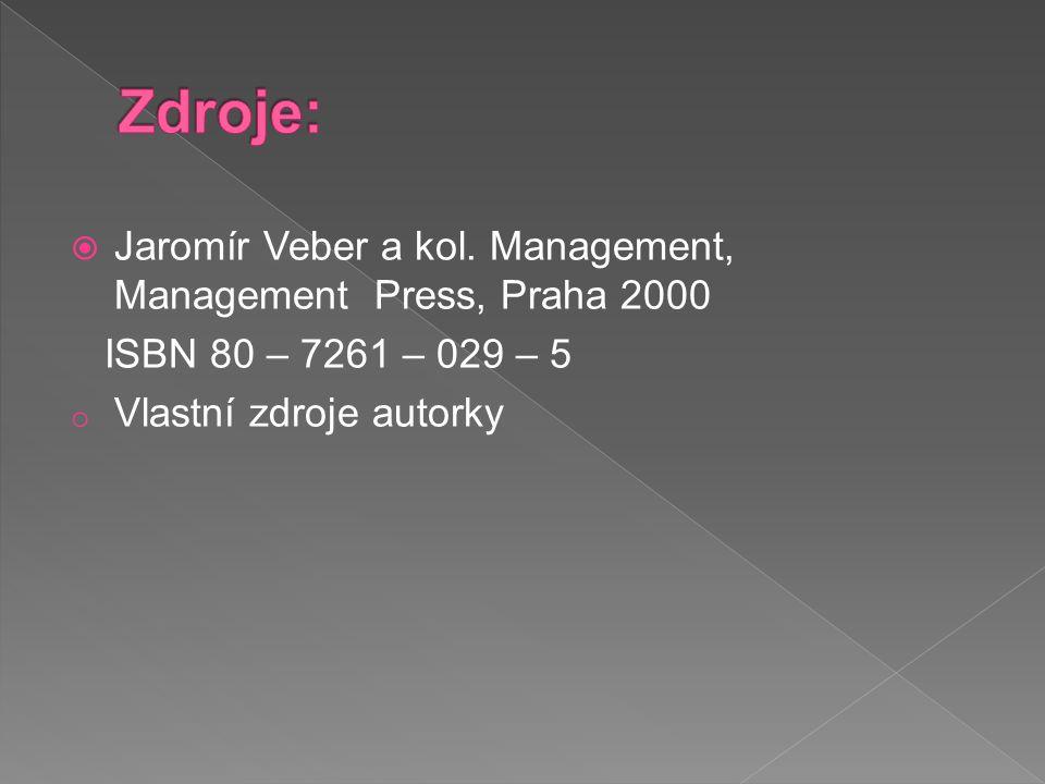  Jaromír Veber a kol. Management, Management Press, Praha 2000 ISBN 80 – 7261 – 029 – 5 o Vlastní zdroje autorky