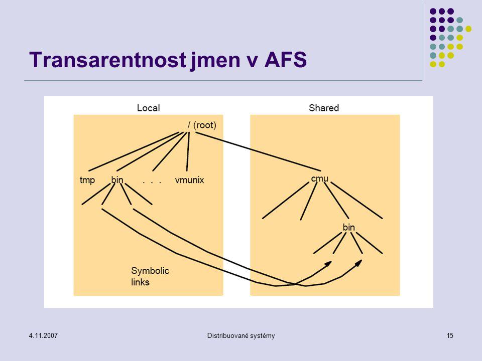 4.11.2007Distribuované systémy15 Transarentnost jmen v AFS