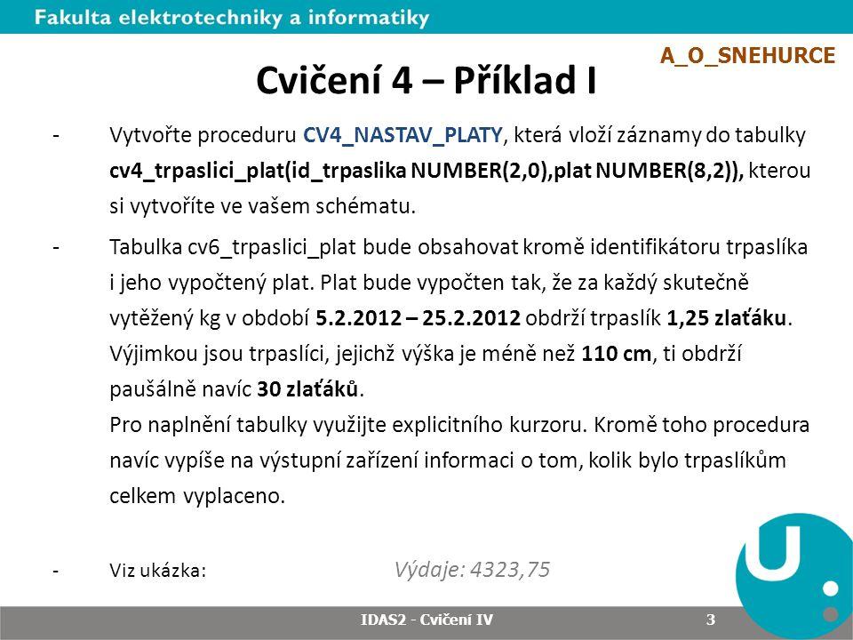3 Cvičení 4 – Příklad I -Vytvořte proceduru CV4_NASTAV_PLATY, která vloží záznamy do tabulky cv4_trpaslici_plat(id_trpaslika NUMBER(2,0),plat NUMBER(8,2)), kterou si vytvoříte ve vašem schématu.