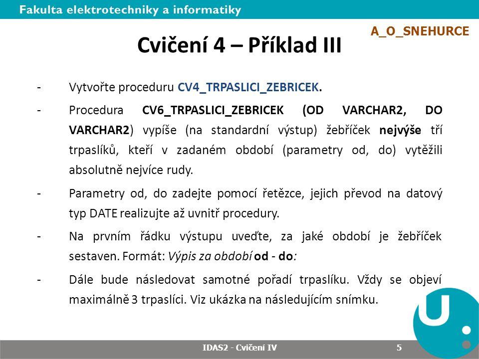 IDAS2 - Cvičení IV 5 Cvičení 4 – Příklad III -Vytvořte proceduru CV4_TRPASLICI_ZEBRICEK.