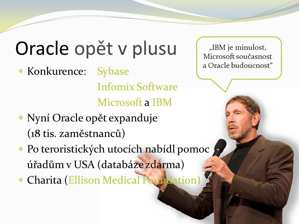 Oracle opět v plusu Konkurence:Sybase Infomix Software Microsoft a IBM Nyní Oracle opět expanduje (18 tis. zaměstnanců) Po teroristických utocích nabí