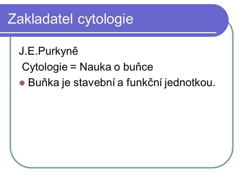 Zakladatel cytologie J.E.Purkyně Cytologie = Nauka o buňce Buňka je stavební a funkční jednotkou.