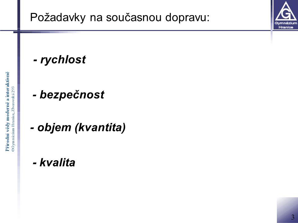 Přírodní vědy moderně a interaktivně ©Gymnázium Hranice, Zborovská 293 Požadavky na současnou dopravu: - rychlost - bezpečnost - objem (kvantita) - kvalita 3