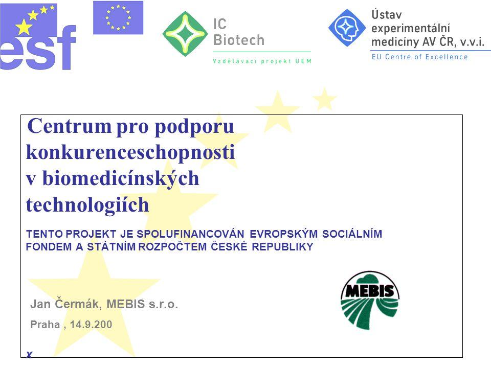 Centrum pro podporu konkurenceschopnosti v biomedicínských technologiích TENTO PROJEKT JE SPOLUFINANCOVÁN EVROPSKÝM SOCIÁLNÍM FONDEM A STÁTNÍM ROZPOČTEM ČESKÉ REPUBLIKY Jan Čermák, MEBIS s.r.o.