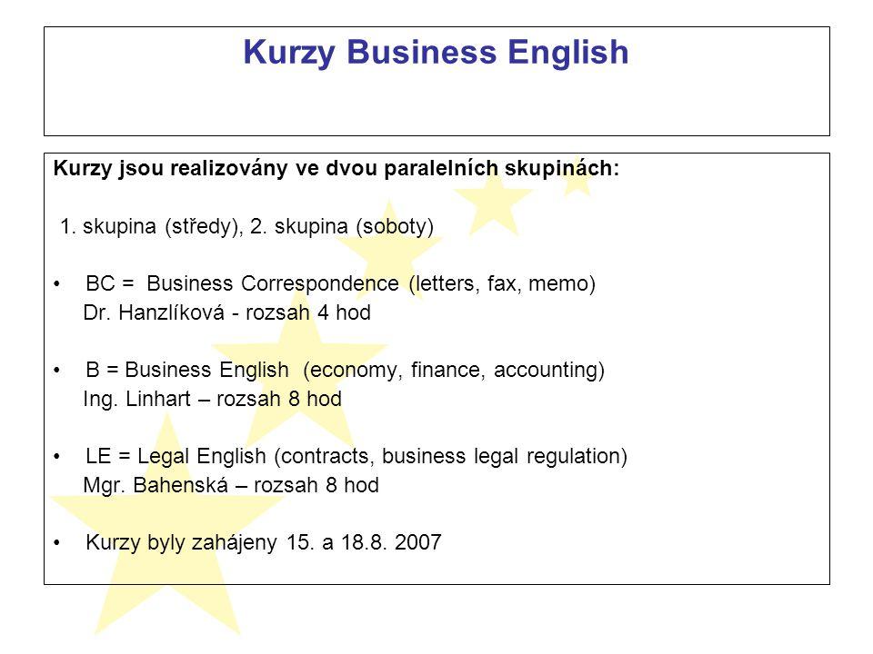 Kurzy Business English Kurzy jsou realizovány ve dvou paralelních skupinách: 1.