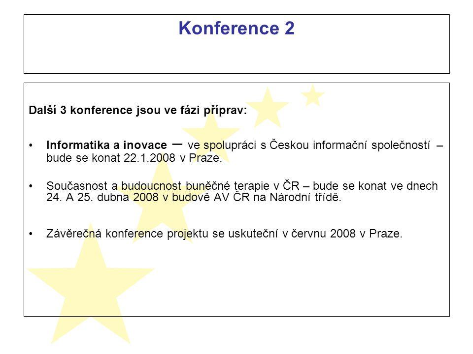 Konference 2 Další 3 konference jsou ve fázi příprav: Informatika a inovace – ve spolupráci s Českou informační společností – bude se konat 22.1.2008 v Praze.