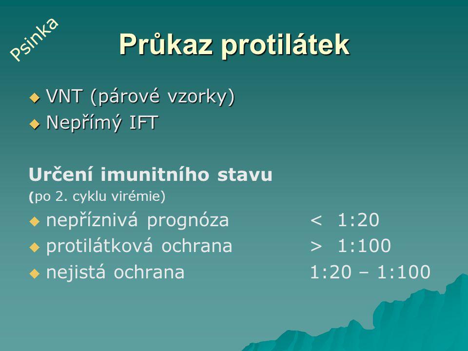 Průkaz protilátek  VNT (párové vzorky)  Nepřímý IFT Určení imunitního stavu ( po 2. cyklu virémie)   nepříznivá prognóza< 1:20   protilátková oc