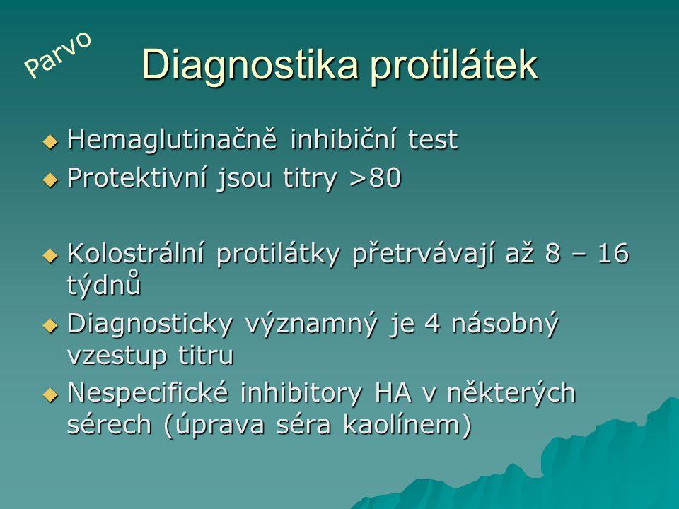 Diagnostika protilátek  Hemaglutinačně inhibiční test  Protektivní jsou titry >80  Kolostrální protilátky přetrvávají až 8 – 16 týdnů  Diagnostick