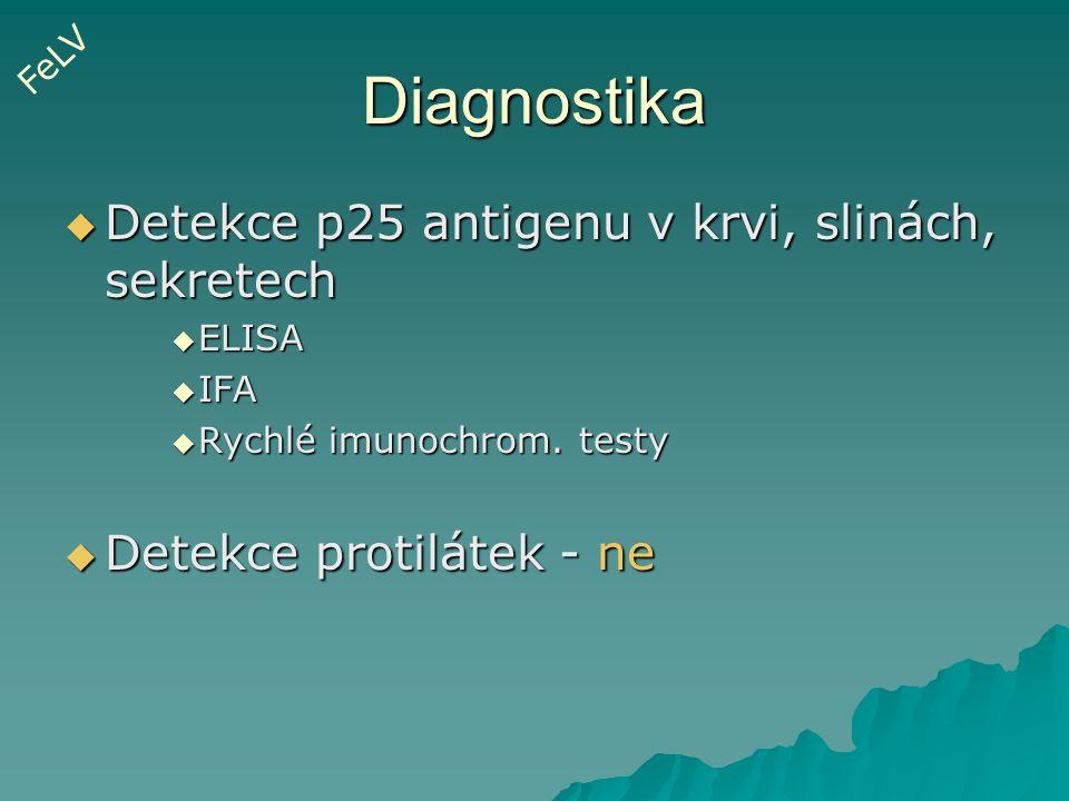 Diagnostika  Detekce p25 antigenu v krvi, slinách, sekretech  ELISA  IFA  Rychlé imunochrom. testy  Detekce protilátek - ne FeLV
