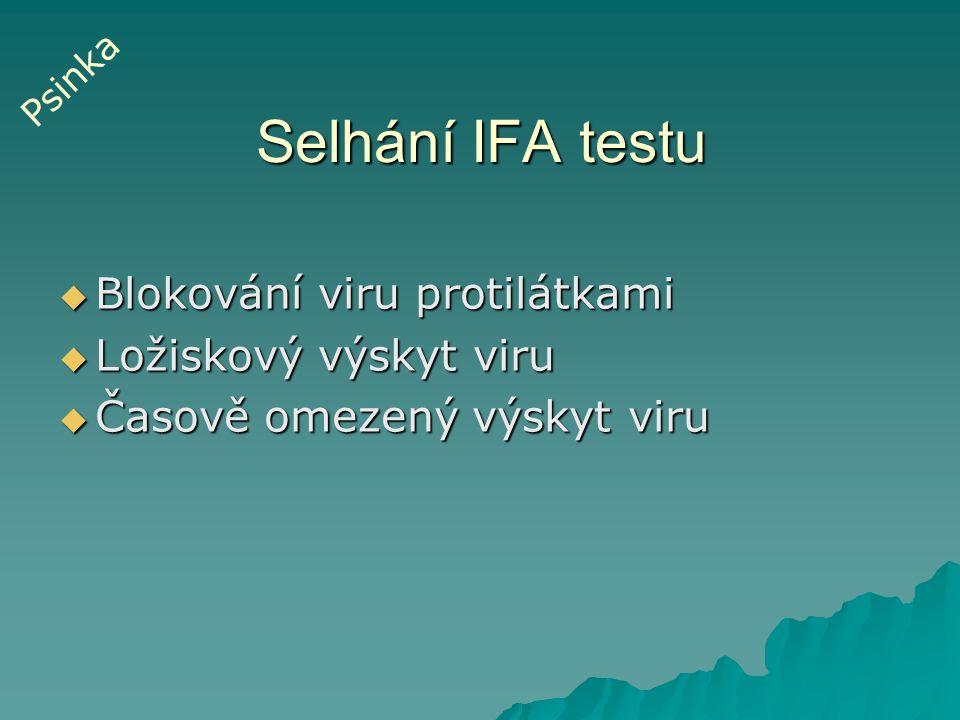 Průkaz protilátek  VNT (párové vzorky)  Nepřímý IFT Určení imunitního stavu ( po 2.