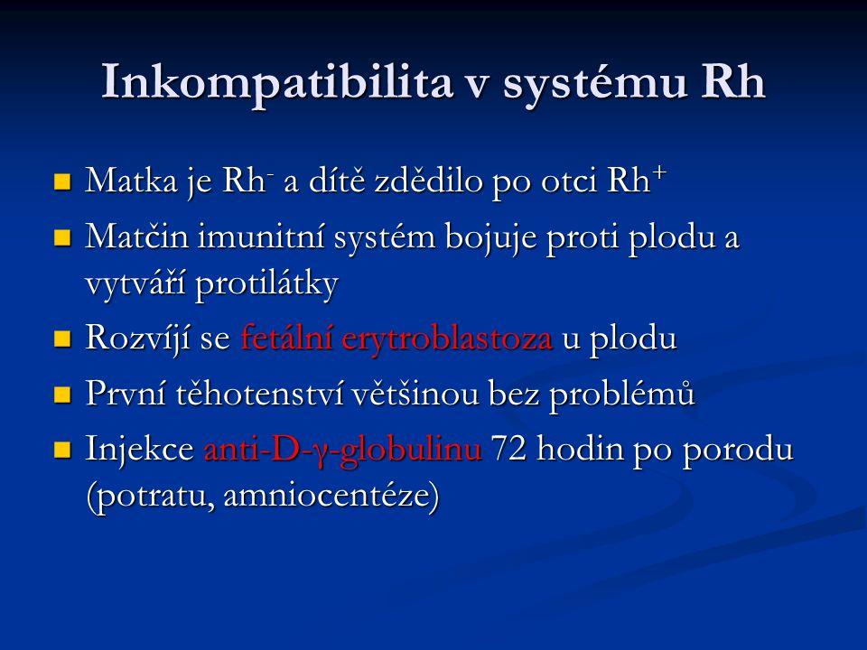 Inkompatibilita v systému Rh Matka je Rh - a dítě zdědilo po otci Rh + Matka je Rh - a dítě zdědilo po otci Rh + Matčin imunitní systém bojuje proti plodu a vytváří protilátky Matčin imunitní systém bojuje proti plodu a vytváří protilátky Rozvíjí se fetální erytroblastoza u plodu Rozvíjí se fetální erytroblastoza u plodu První těhotenství většinou bez problémů První těhotenství většinou bez problémů Injekce anti-D-γ-globulinu 72 hodin po porodu (potratu, amniocentéze) Injekce anti-D-γ-globulinu 72 hodin po porodu (potratu, amniocentéze)