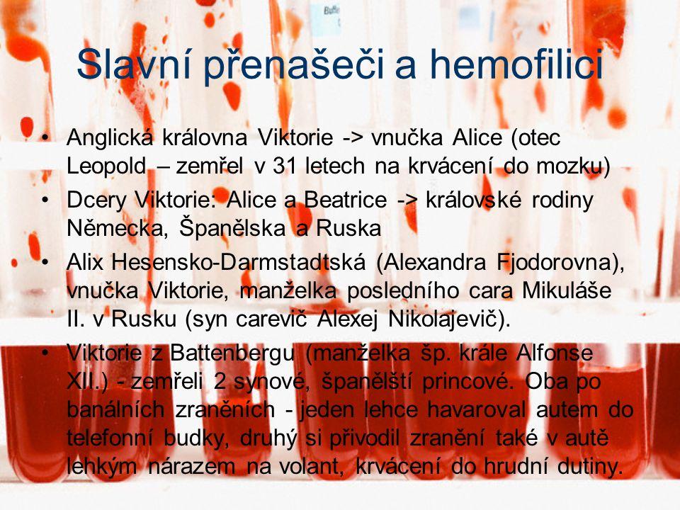 Výskyt V ČR: zhruba 900 hemofiliků – Český svaz hemofiliků –V rámci EU normál