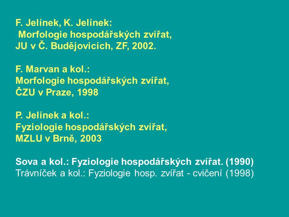 F.Jelínek, K. Jelínek: Morfologie hospodářských zvířat, JU v Č.
