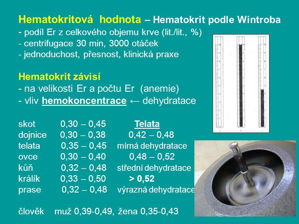 Hematokritová hodnota – Hematokrit podle Wintroba - podíl Er z celkového objemu krve (lit./lit., %) - centrifugace 30 min, 3000 otáček - jednoduchost, přesnost, klinická praxe Hematokrit závisí - na velikosti Er a počtu Er (anemie) - vliv hemokoncentrace ← dehydratace skot 0,30 – 0,45 Telata dojnice 0,30 – 0,38 0,42 – 0,48 telata 0,35 – 0,45 mírná dehydratace ovce 0,30 – 0,40 0,48 – 0,52 kůň 0,32 – 0,48 střední dehydratace králík 0,33 – 0,50 > 0,52 prase 0,32 – 0,48 výrazná dehydratace člověk muž 0,39-0,49, žena 0,35-0,43