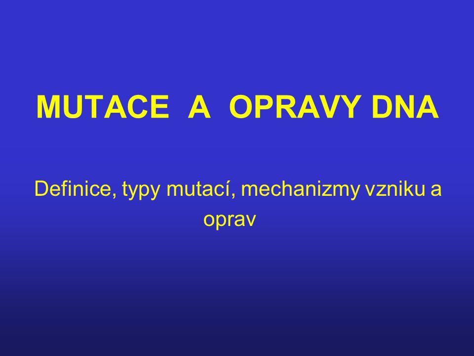 MUTACE A OPRAVY DNA Definice, typy mutací, mechanizmy vzniku a oprav