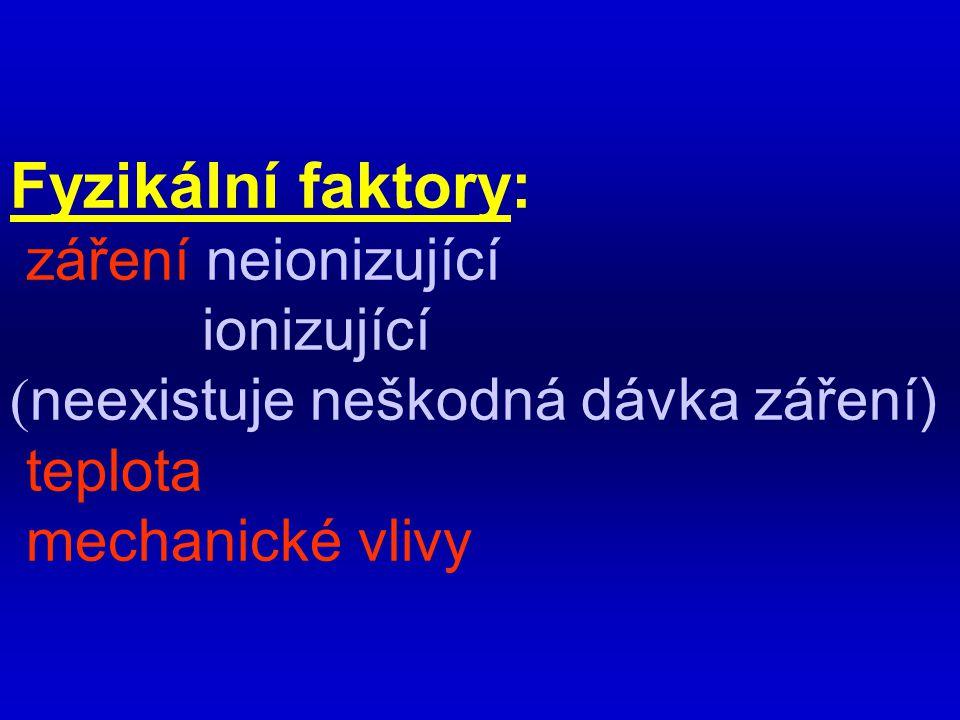 Fyzikální faktory: záření neionizující ionizující ( neexistuje neškodná dávka záření) teplota mechanické vlivy