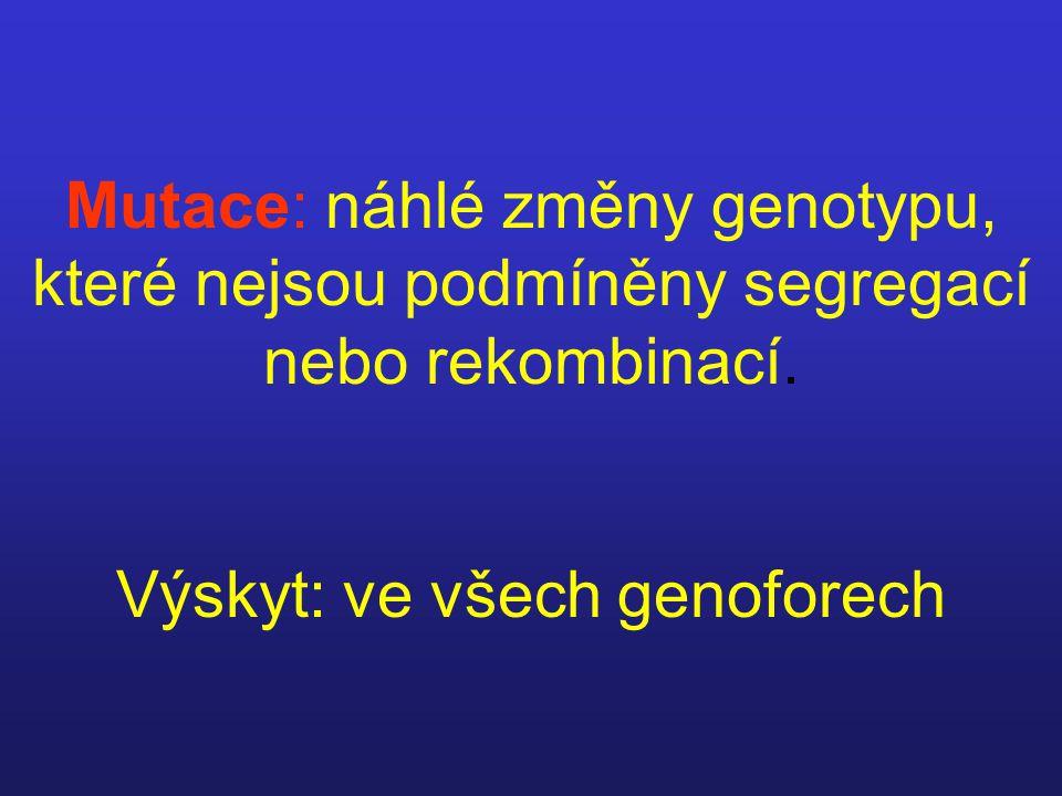 Mutace: náhlé změny genotypu, které nejsou podmíněny segregací nebo rekombinací. Výskyt: ve všech genoforech