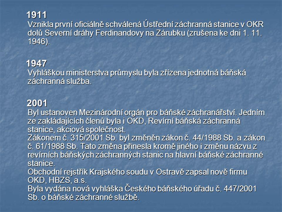 1911 Vznikla první oficiálně schválená Ústřední záchranná stanice v OKR dolů Severní dráhy Ferdinandovy na Zárubku (zrušena ke dni 1.
