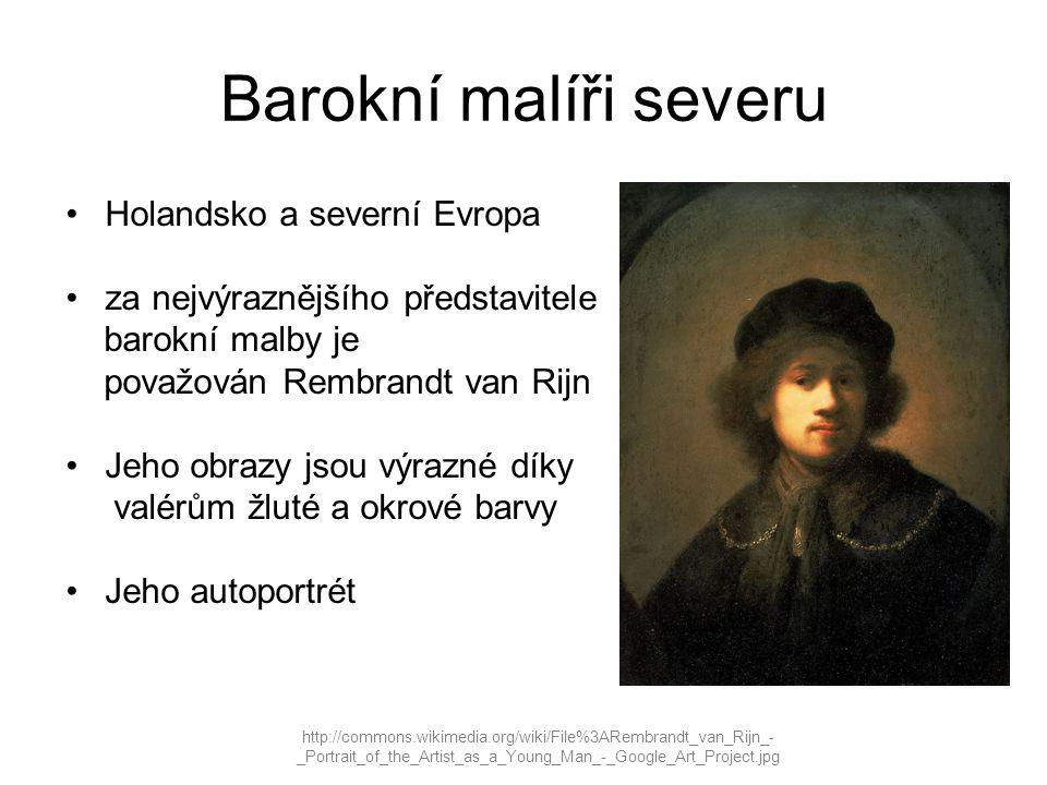 Barokní malíři severu http://commons.wikimedia.org/wiki/File%3ARembrandt_van_Rijn_- _Portrait_of_the_Artist_as_a_Young_Man_-_Google_Art_Project.jpg Holandsko a severní Evropa za nejvýraznějšího představitele barokní malby je považován Rembrandt van Rijn Jeho obrazy jsou výrazné díky valérům žluté a okrové barvy Jeho autoportrét
