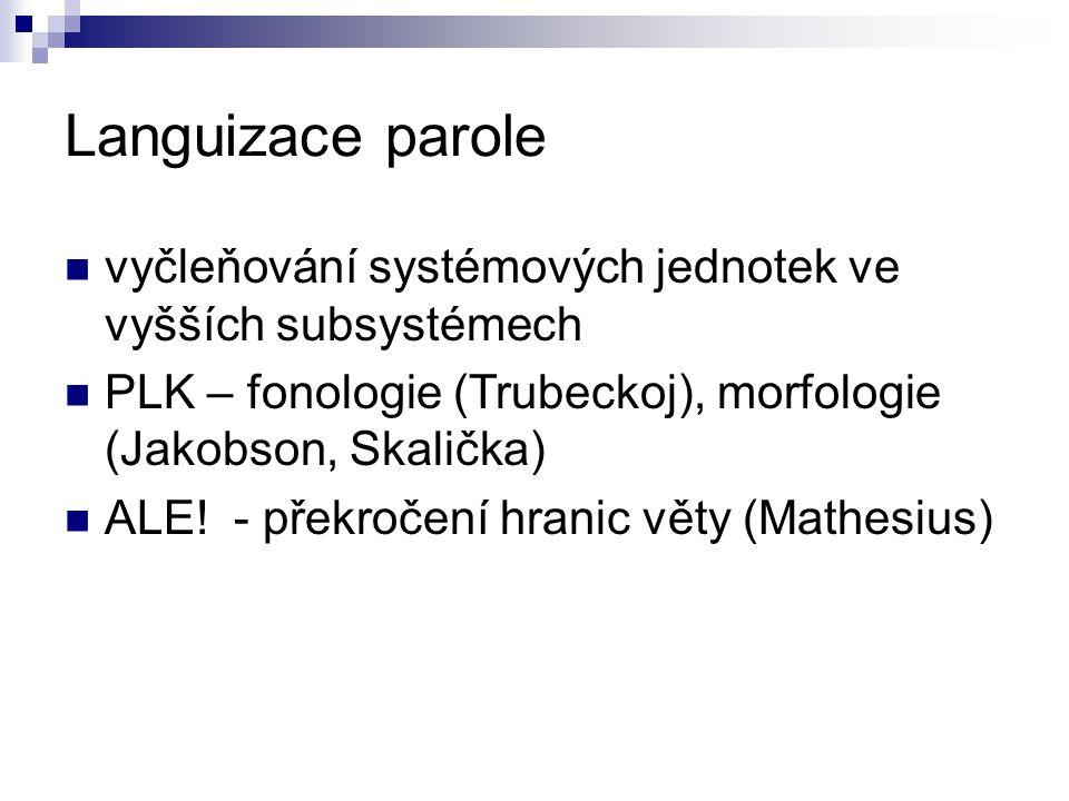 Languizace parole vyčleňování systémových jednotek ve vyšších subsystémech PLK – fonologie (Trubeckoj), morfologie (Jakobson, Skalička) ALE! - překroč