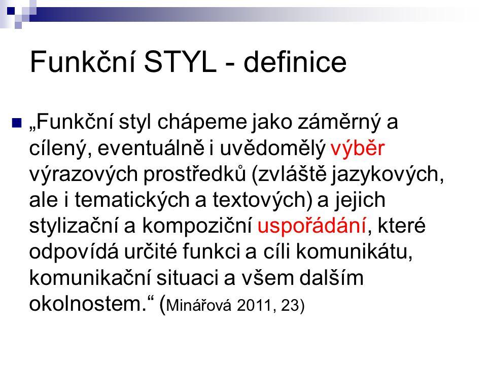 """Funkční STYL - definice """"Funkční styl chápeme jako záměrný a cílený, eventuálně i uvědomělý výběr výrazových prostředků (zvláště jazykových, ale i tem"""
