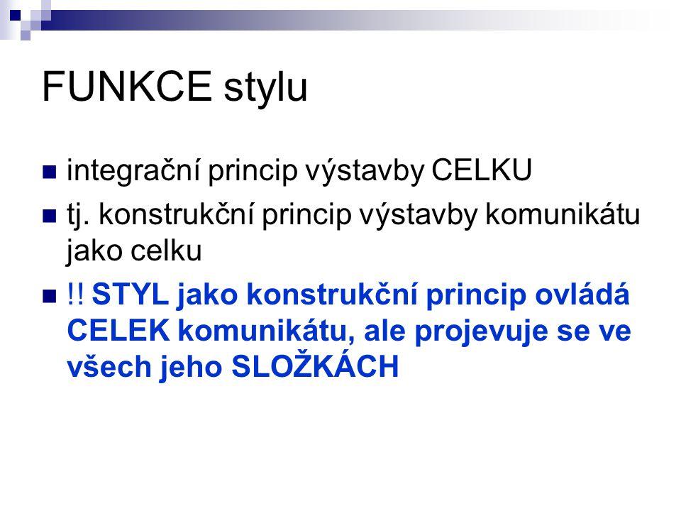 FUNKCE stylu integrační princip výstavby CELKU tj. konstrukční princip výstavby komunikátu jako celku !! STYL jako konstrukční princip ovládá CELEK ko