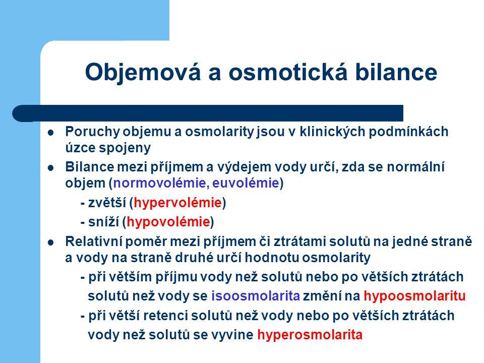 Objemová a osmotická bilance Poruchy objemu a osmolarity jsou v klinických podmínkách úzce spojeny Bilance mezi příjmem a výdejem vody určí, zda se no
