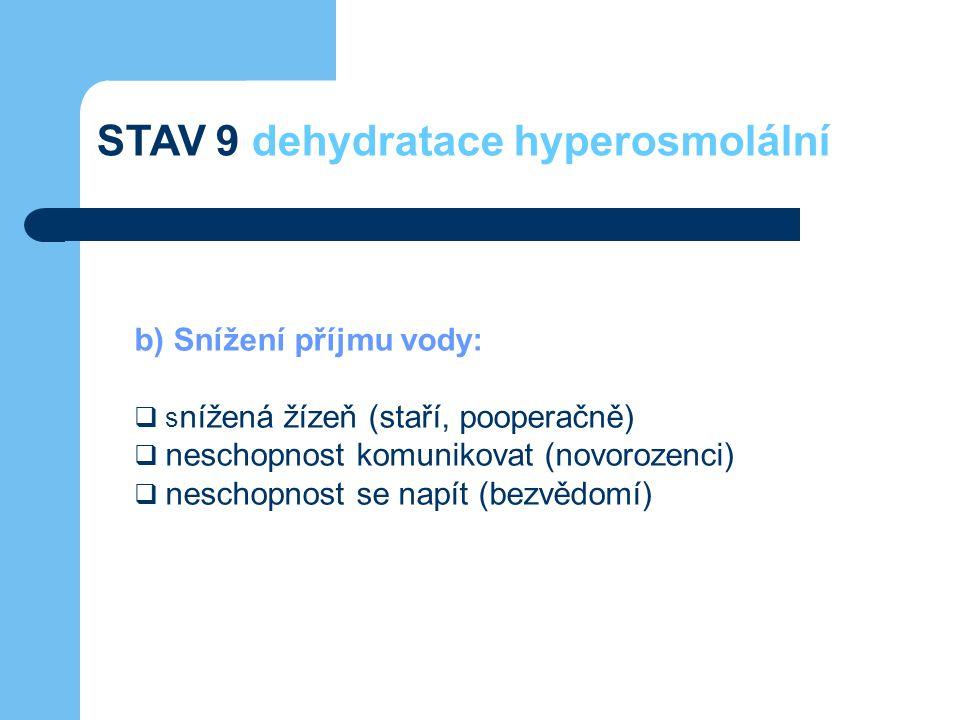 b) Snížení příjmu vody:  s nížená žízeň (staří, pooperačně)  neschopnost komunikovat (novorozenci)  neschopnost se napít (bezvědomí) STAV 9 dehydra