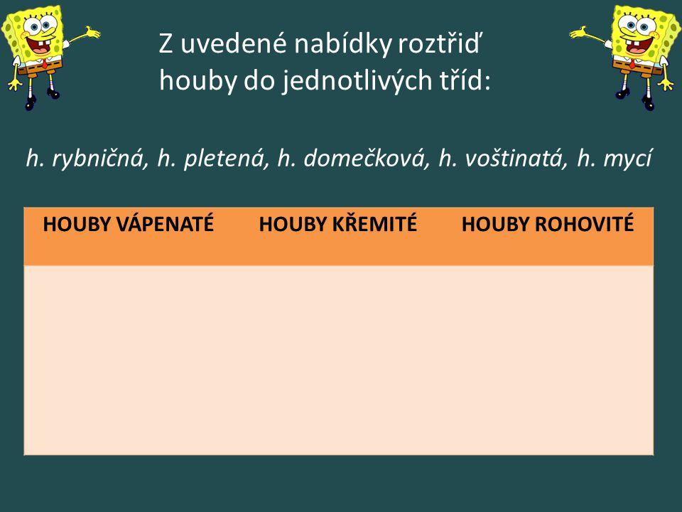Z uvedené nabídky roztřiď houby do jednotlivých tříd: HOUBY VÁPENATÉHOUBY KŘEMITÉHOUBY ROHOVITÉ h. rybničná, h. pletená, h. domečková, h. voštinatá, h