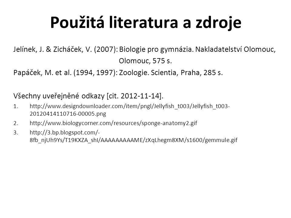 Použitá literatura a zdroje Jelínek, J. & Zicháček, V. (2007): Biologie pro gymnázia. Nakladatelství Olomouc, Olomouc, 575 s. Papáček, M. et al. (1994