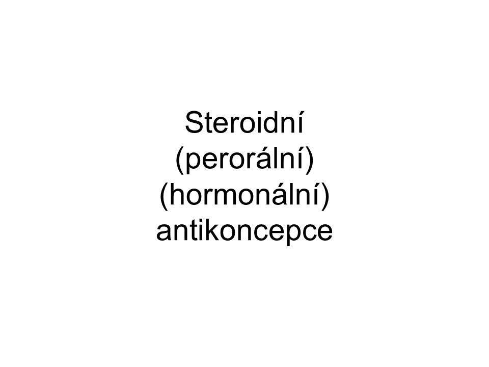 STEROIDNÍ KONTRACEPCE - I kombinovaná (COC) x jen gestagen (POP) x postkoitální (PCC) Účinnost - Pearl index 0,5 - 1 (COC), 0,5 - 4 (POP) Jednofázová - neměnící se D estrogenu (ethinylestradiol ) +neměnná D progestinu (derivát 19-nortestosteronu ) Dvoufázová - neměnná D estrogenu + dvě vzestupné D progestinu Třífázová - 2-3 D estrogenu + 3 stoupající D progestinu Sekvenční (normofázová) - 1.