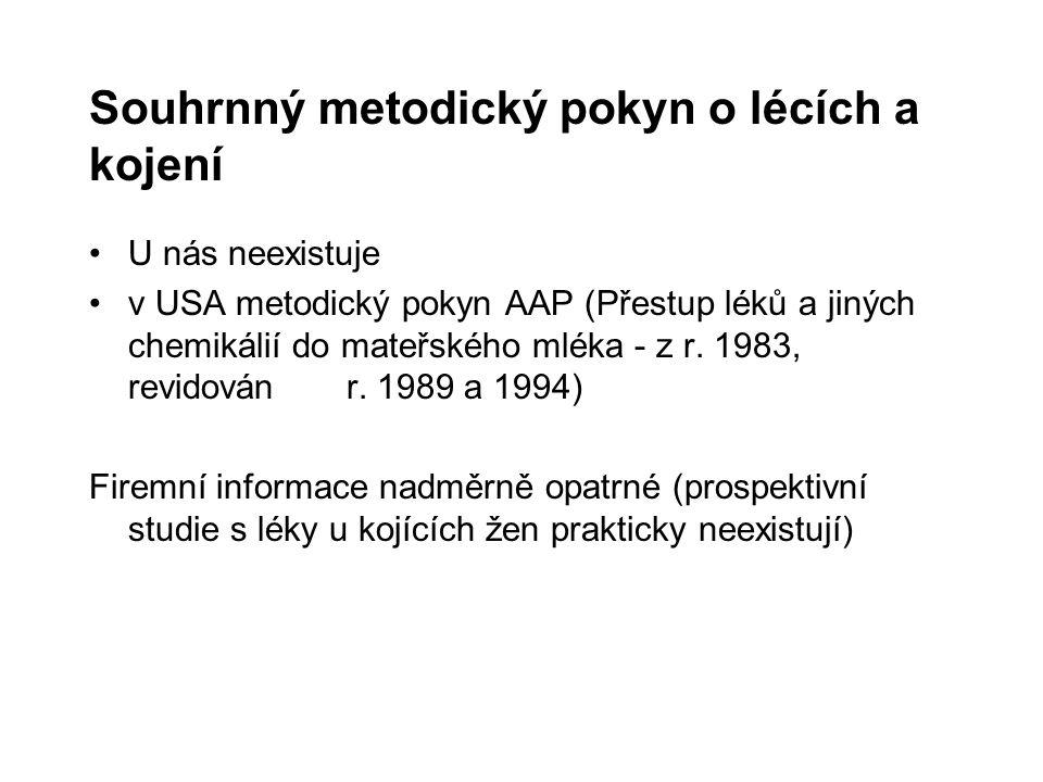 Souhrnný metodický pokyn o lécích a kojení U nás neexistuje v USA metodický pokyn AAP (Přestup léků a jiných chemikálií do mateřského mléka - z r. 198