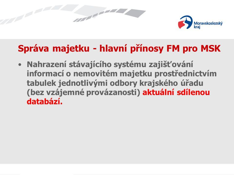 Správa majetku - hlavní přínosy FM pro MSK Nahrazení stávajícího systému zajišťování informací o nemovitém majetku prostřednictvím tabulek jednotlivým