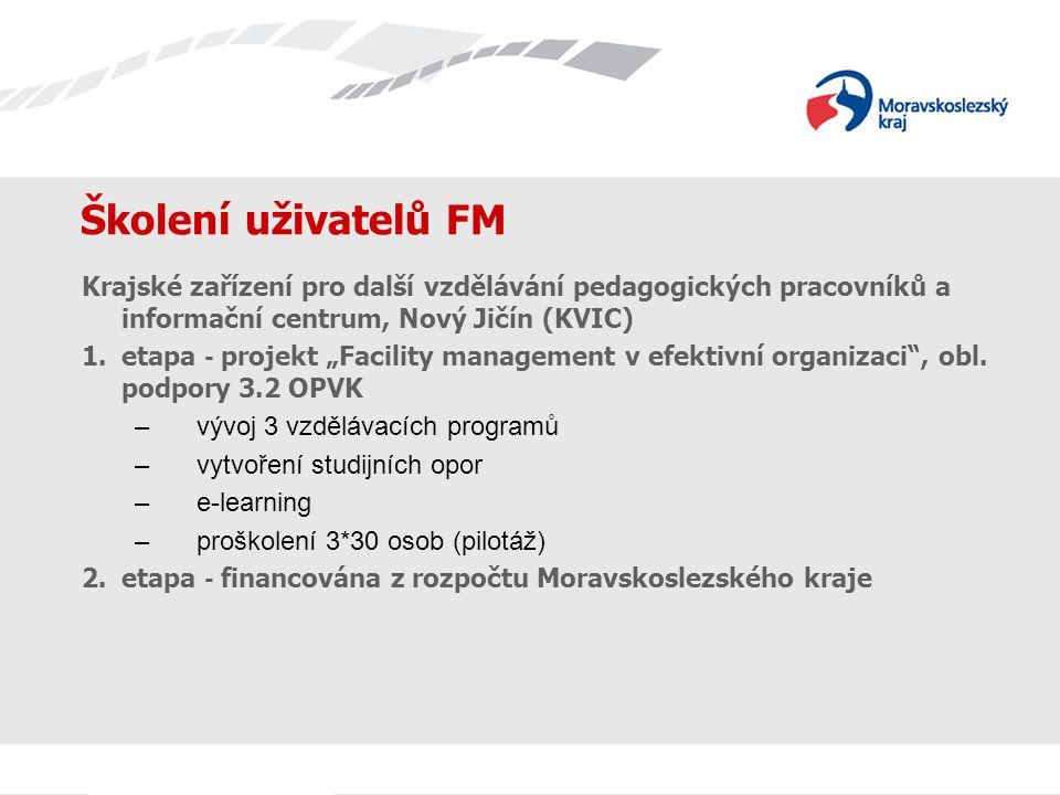 Školení uživatelů FM Krajské zařízení pro další vzdělávání pedagogických pracovníků a informační centrum, Nový Jičín (KVIC) odvětvové odboryPO (počet) počet zaměstnanců PO k proškolení počet zaměstnanců KÚ k proškolení ŠMS19238420 ÚPS7142 DSH7141 SOC24485 ZDR10204 IM 35 FIN 6 KON 7 KŘ 6 EP 4 celkem24048090 celkem počet zaměstnanců k proškolení570