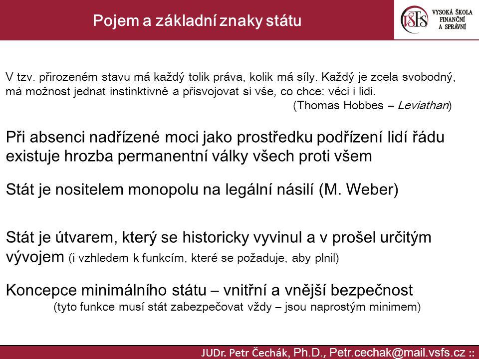 JUDr. Petr Čechák, Ph.D., Petr.cechak@mail.vsfs.cz :: Pojem a základní znaky státu V tzv. přirozeném stavu má každý tolik práva, kolik má síly. Každý