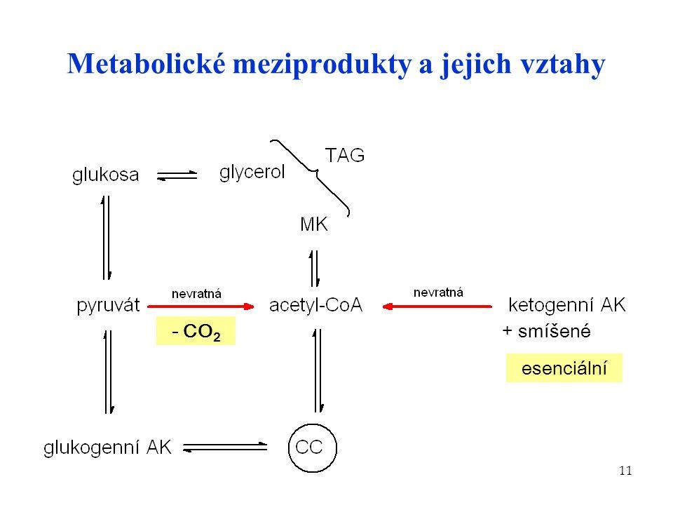 11 Metabolické meziprodukty a jejich vztahy + smíšené- CO 2 esenciální