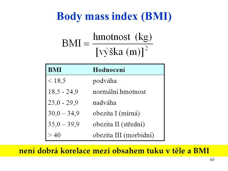 46 Body mass index (BMI) BMIHodnocení < 18,5 18,5 - 24,9 25,0 - 29,9 30,0 – 34,9 35,0 – 39,9 > 40 podváha normální hmotnost nadváha obezita I (mírná)