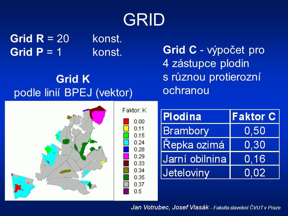 Grid R = 20konst. Grid P = 1konst. Grid K podle linií BPEJ (vektor) GRID Jan Votrubec, Josef Vlasák - Fakulta stavební ČVUT v Praze Grid C - výpočet p