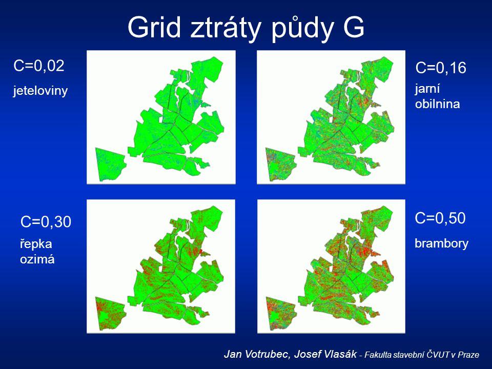 Grid ztráty půdy G Jan Votrubec, Josef Vlasák - Fakulta stavební ČVUT v Praze C=0,02 jeteloviny C=0,16 jarní obilnina C=0,30 řepka ozimá C=0,50 brambo