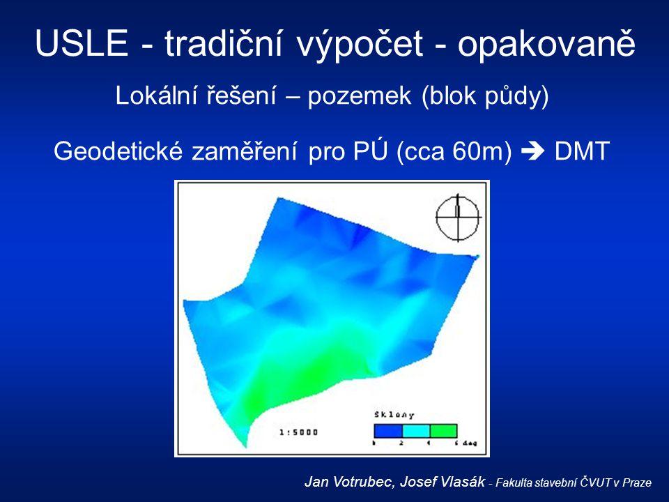 Lokální řešení – pozemek (blok půdy) Geodetické zaměření pro PÚ (cca 60m)  DMT USLE - tradiční výpočet - opakovaně Jan Votrubec, Josef Vlasák - Fakul